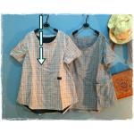 เสื้อผ้าฝ้ายลายสก้อตสไตล์ญี่ปุ่น เนื้อผ้านิ่มมากๆ สีส้มอ่อน