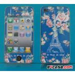 iPhone 4 - ฟิล์มลาย (พื้นสีน้ำเงิน ลายหอไอเฟล)