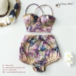 Size S ชุดว่ายน้ำทูพีช บราถักหลังลายดอกกุลาบม่วง ผ้ามันเงา กางเกงเอวสูง