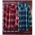 SM2 เสื้อเชิ้ตผ้าฝ้ายสไตล์ลำลองญี่ปุ่น ลายสก้อตสีสวยสด สีแดง