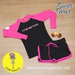 [Size S] ชุดว่ายน้ำ แขนยาว รุ่น Minerva (สีดำแขนสีชมพู) และ ขาสั้น