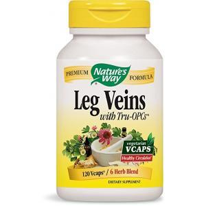 อาหารเสริมรักษาเส้นเลือดขอด Nature's Way Leg Veins with Tru-OPCs™, 120 VCaps