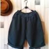 Bugucun กางเกงขา 3 ส่วน ผ้าฝ้ายเนื้อนิ่ม สีเขียวเข้ม