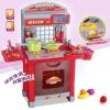 ครัวเด็ก สีแดง ประกอบตั้งโต๊ะ มี 2 เตาแก๊ส มีไฟ มีเสียง พร้อมเตาอบและเครื่องครัวต่างๆ