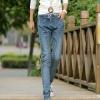 LW5710002 กางเกงยีนส์สาวเกาหลี big size เอวยางยืดผูกโบว์หน้า (พรีออเดอร์)รอ 3 อาทิตย์หลังชำระเงิน