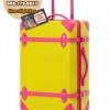 กระเป๋าเดินทางวินเทจ รุ่น colorful เหลืองคาดชมพู ขนาด 24 นิ้ว