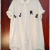 เสื้อเชิ้ตผ้าฝ้าย สีขาว สไตล์ลำลอง ปักลาย S J M Q