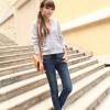 LW5710003 กางเกงยีนส์สาวเกาหลี big size เอวยางยืดผูกโบว์หน้า (พรีออเดอร์)รอ 3 อาทิตย์หลังชำระเงิน