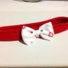ที่รัดผมเด็ก สีแดง โบว์ขาว สีสันสดใส