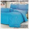 ผ้าปูที่นอนลายจุด เกรด A สีฟ้า ขนาด 5 ฟุต 5 ชิ้น