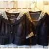 Jacket ยีนส์ตัวสั้น คอลูกไม้สวยๆ สีเทาดำ