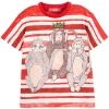 Dolce & Gabbana - Red And White Stripe Three Wise Monkeys Print T-Shirt