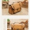กระเป๋าหนัง pu รุ่นสะพายไหล่ ตัวล็อคเขี้ยว คาดเข็มขัดที่ฝากระเป๋า สีน้ำตาลอ่อน