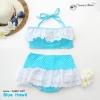 (free size) ชุดว่ายน้ำ ทูพีช มีระบายลูกไม้น่ารัก สีฟ้าลายจุด ผูกหลัง กระโปรงสีฟ้า ลายจุดบิกินี่-Blue-Hawii