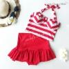 (free size) ชุดว่ายน้ำ ทูพีช ลายริ้วขาว แดง บราเป็นแบบสวมเต็มตัวไม่โป้ กระโปรงสีแดง