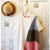 Beargirl เสื้อยืดสไตล์ญี่ปุ่น แต่งลายผ้าสลับสุดชิค