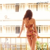 [Size S,M] ชุดว่ายน้ำทูพีช บราถักหลังลายดอกกุลาบแดง ผ้ามันเงา กางเกงเอวสูง