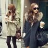 CW5709010 เสื้อโค้ท กันหนาว ผ้าขนสัตว์ มีฮูด แต่งเฟอร์ขน อบอุ่นมาก แฟชั่นเกาหลี (พร้อมส่ง)เทาเข้ม