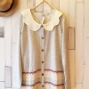 เสื้อคลุมสไตล์ญี่ปุ่น คอบัวหยัก สีเทาอ่อน แต่งเชือกถักและลูกไม้