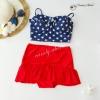 (free size) ชุดว่ายน้ำ ทูพีช บราแบบใหม่มาพร้อมโครงเหล็กช่วยให้กระชับและดันทรง สีน้ำเงินกรม ลายดาว ชุดว่ายน้ำ-corset07