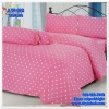 ผ้าปูที่นอนลายจุด เกรด A สีชมพูนม ขนาด 3.5 ฟุต 3 ชิ้น
