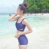 [Size S,M] Over Cross (สีกรม) ชุดว่ายน้ำ ทูพีทแนววินเทจ บราไขว้หน้า กางเกงเอวสูง