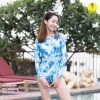 [Free size] ชุดว่ายน้ำวันพีชแขนยาวเว้าหลัง รุ่น Sofia สีฟ้าลายกราฟิก