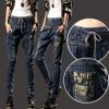 LW5710007 กางเกงยีนส์สาวเกาหลี big size เอวยางยืดผูกโบว์หน้า (พรีออเดอร์)รอ 3 อาทิตย์หลังชำระเงิน