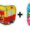 เซตคู่ บ้านบอลรถบัส 2 ตอน + ลูกบอล Apex 100 ลูก คละสี มี มอก. รองรับค่ะ