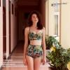 [Size S,M] ชุดว่ายน้ำทูพีช บราถักหลังลายดอกกุลาบเขียว ผ้ามันเงา กางเกงเอวสูง