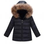 WT57-Black เสื้อกันหนาวเด็กสีดำ บุใยสังเคราะห์อย่างหนา มีฮูดขนเฟอร์