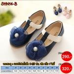 SHN14-B รองเท้าคัชชูเด็กออกงาน สีดำประดับดอกไม้