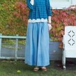 กางเกงกระโปรงยีนส์เนื้อนิ่ม สไตล์ญี่ปุ่น