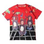 """เสื้อยืด Dolce & Gabbana T-Shirt สีแดง พิมพ์ลาย """"ลิงน้อย"""" สามตัว"""