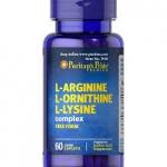 Puritan's Pride Tri-Amino Acid (L-Arginine · L-Ornithine · L-Lysine Â) / 60 Tablets