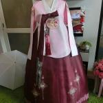 Princess Style Hanbok ฮันบกแบบชาววัง ทังอี สีชมพู แดงทับทิม