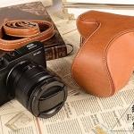 Case หนัง สีน้ำตาลอ่อน สำหรับกล้อง FUJI X-M1 และ X-A1 X-A2