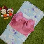 Summer kimono กิโมโนฤดูร้อน (Yukata) Spring Summer สีฟ้า พิมพ์ทอง