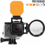 FLIP5 Pro Package with SHALLOW, DIVE & DEEP Filters & +15 MacroMate Mini Lens เป็น Red Filter และ Lens Macro สำหรับกล้อง GoPro Hero5 ฺBlack, 4, 3, 3+ สำเนา