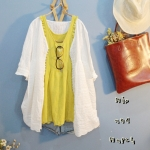 เสื้อลำลองสีขาวลูกไม้ฉลุปัก สไตล์ญี่ปุ่น
