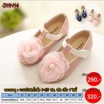 SHN14 รองเท้าคัชชูเด็กออกงาน สีชมพูประดับดอกไม้ผ้าแก้ว