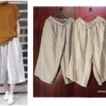 กางเกงกระโปรงผ้าลินินเนื้อนิ่ม ขา 5 ส่วน สไตล์ญี่ปุ่น