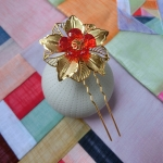 Hanbok hair pin ที่ปักผมฮันบกสีทอง เกสรแก้ว รุ่นใหญ่ เซต 2 ชิ้น