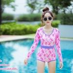 [Free size] ชุดว่ายน้ำวันพีชแขนยาว รุ่น Kanya สีชมพูลายโบว์