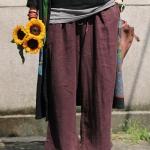 กางเกงขา 9ส่วน ผ้าฝ้ายลินินเนื้อนิ่ม ทรงลำลองใส่สบาย