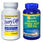 เซตผิวขาวกระจ่างใส - เซ็ตคู่ยอดนิยม Ivory Caps 1500 mg 60 แคปซูล + Puritan ALA 300 mg 60 Softgels (USA) อาหารเสริม บำรุงผิว ผิวขาวกระจ่างใส ลดความหมองคล้ำ ต้านริ้วรอย