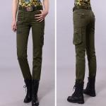 HW6107002 กางเกงขายาวทหารหญิงสีเขียวกองทัพทหาร แฟชั่นเกาหลี (พรีออเดอร์) รอ 3 อาทิตย์หลังโอนเงิน