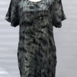 Short Sleeve Dresses sew tucks tie dye