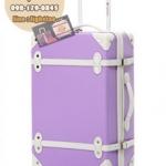กระเป๋าเดินทางวินเทจ รุ่น colorful ม่วงอ่อนคาดขาว ขนาด 20 นิ้ว