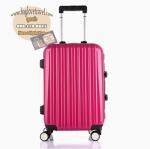 กระเป๋าเดินทางไฟเบอร์ รุ่น Aluminium ชมพูเข้ม ขนาด 28 นิ้ว